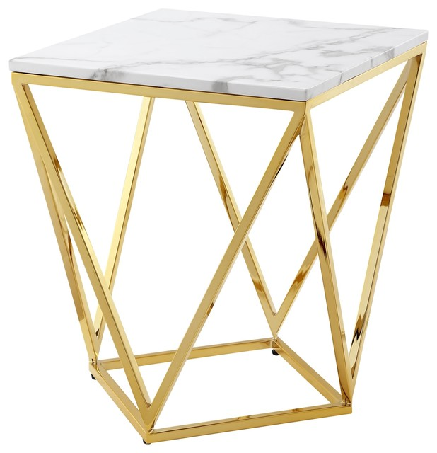Emmet Marble Top End Table With Geometric Metal Base White Gold