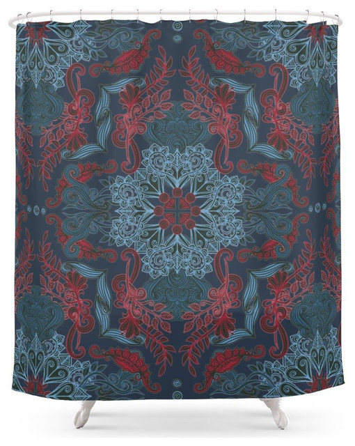 Society6 VIntage Fancy, a Pattern in Deep Teal and Red Shower ...
