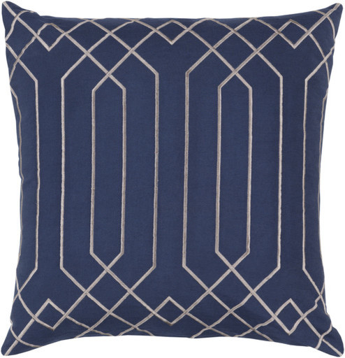 "Skyline Cobalt Linen Down Throw Pillow, 22""x22""."