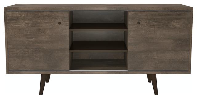 Valencia 3-Shelf Tv Stand, Distressed Brown.