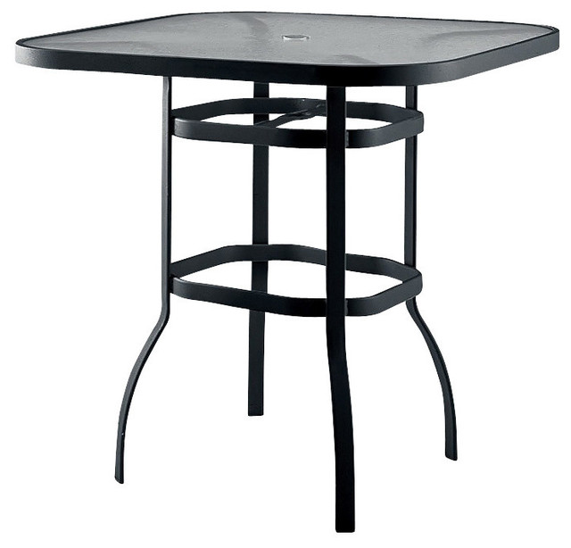 Aluminum And Glass Bar Height Patio Table, Umbrella Holder   Contemporary    Outdoor Dining Tables   By ShopLadder