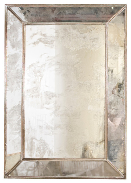 Rectangle Antique-Style Mirror, Silver