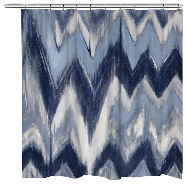 Laural Home Indigo Chevron Shower Curtain