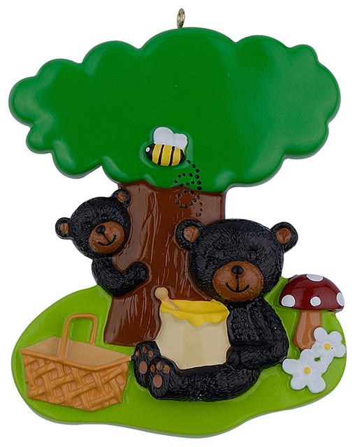 Maxora Picnic Black Bears Ornament - Contemporary - Christmas Ornaments - by Vtop International Ltd