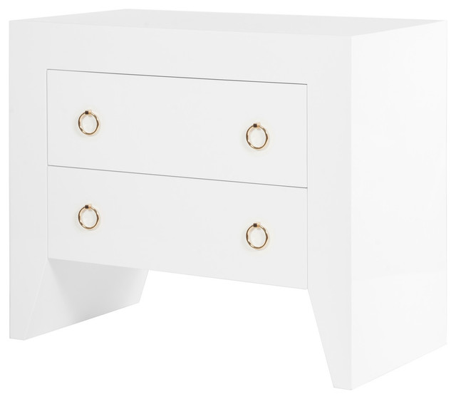 White Lacquer 2 Drawer Nightstand Br