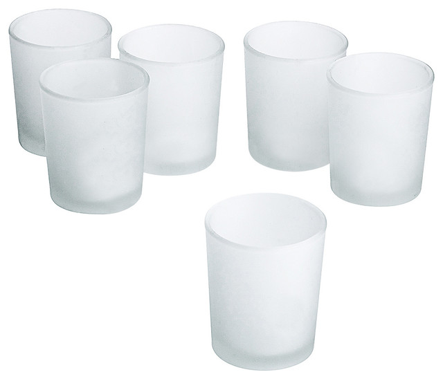 White Frosted Glass Round Votive Candle Holders, Set of 12 contemporary-candleholders