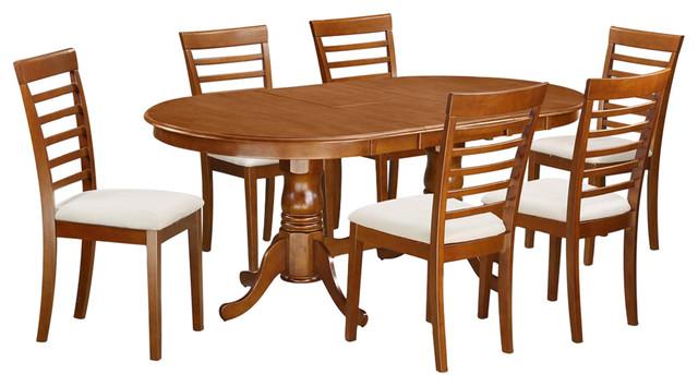 Plainville 7 Piece Solid Wood Dining Set Saddle Brown