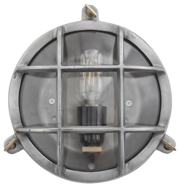 Bulkhead Outdoor & Bathroom Round Light - 8 Inch - Gunmetal, Side Wiring