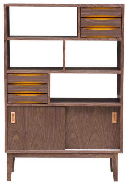 Vodder 4-Tier Upright Cabinet, Midcentury Modern Wood Bookcase ...