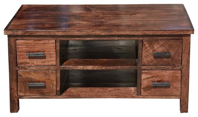 Daytona Solid Wood Open Back 4 Drawer Media Tv Stand