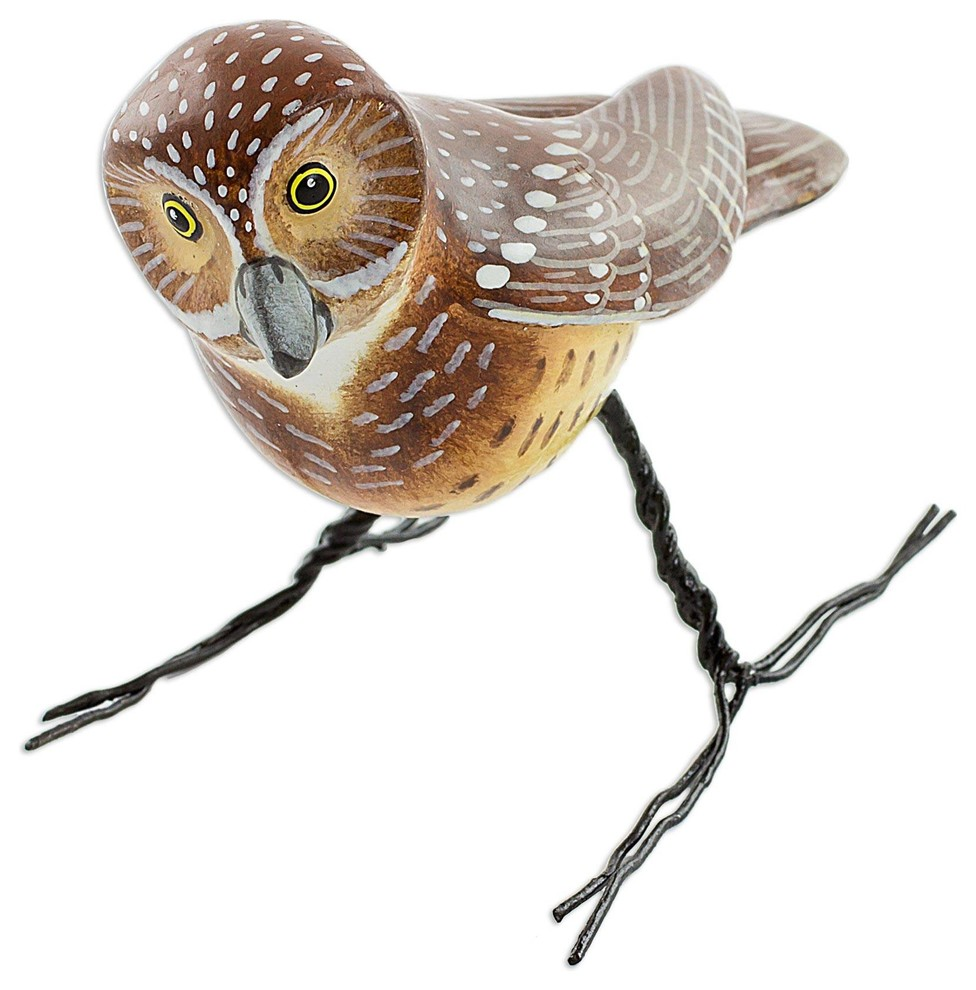 Novica Burrowing Owl Ceramic Figurine Rustic Decorative Objects And Figurines By Novica