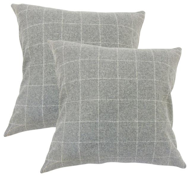 Hanan Plaid Throw Pillows, Set Of 2, Gray.