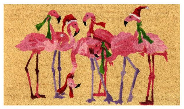 "Unbelievable Mats 100% Coir Print Mat With Vinyl Backing, 18""x30"", Flamingo."