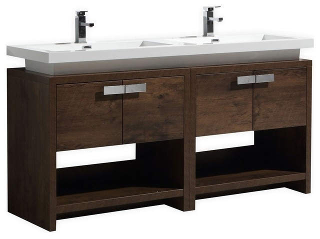 Levi 63 Rose Wood Double Sink Modern Bathroom Vanity With Cubby Hole.
