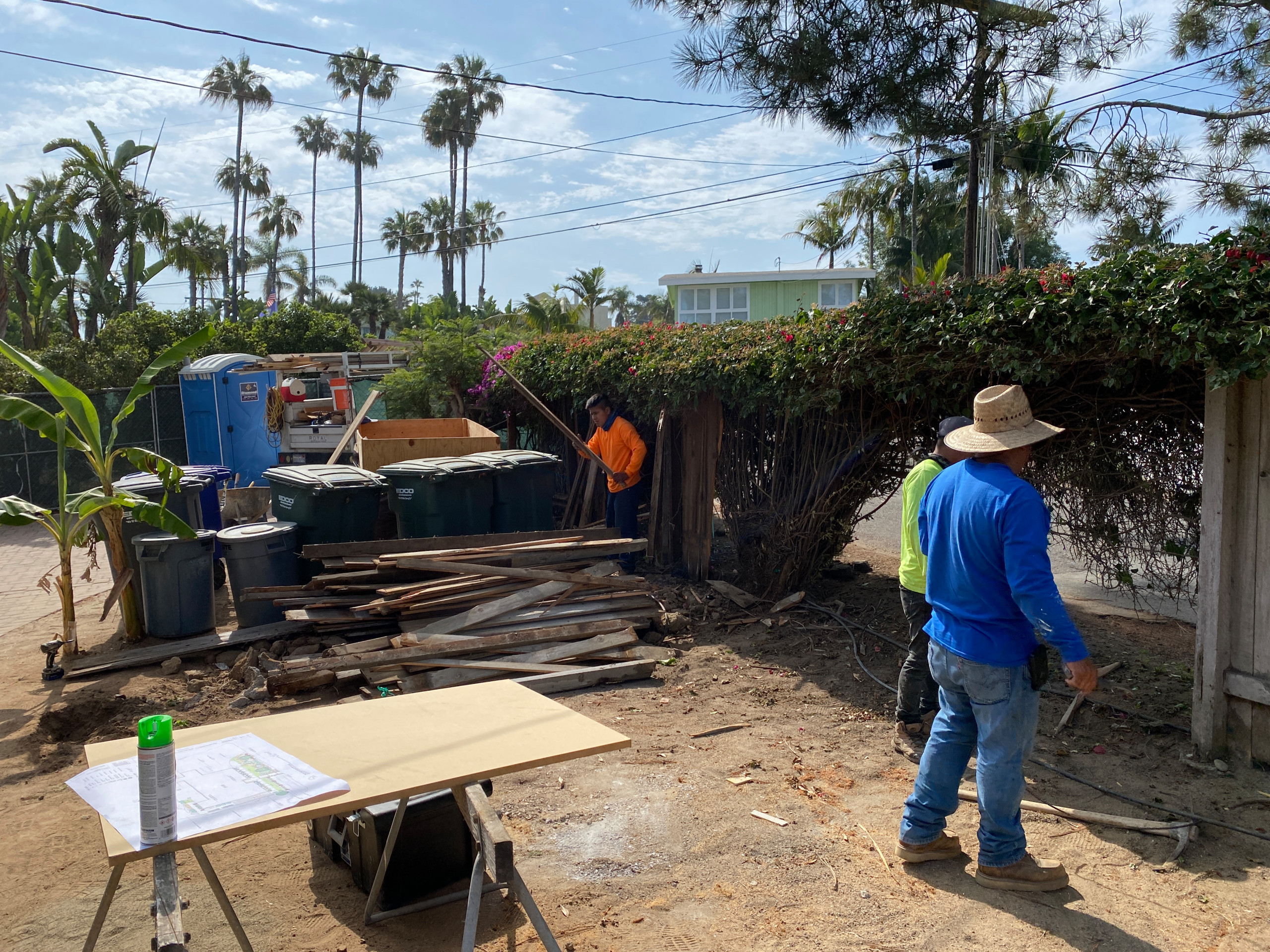 Removing An Old Fence and Shrubbery in Solana Beach