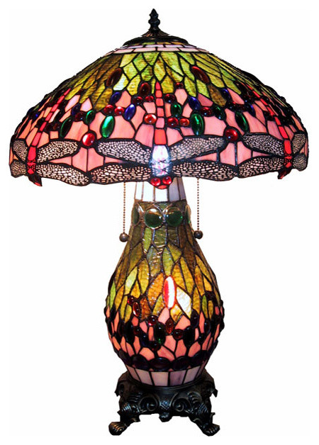 Tiffany-Style Lighted Base Pink Dragonfly Lamp.