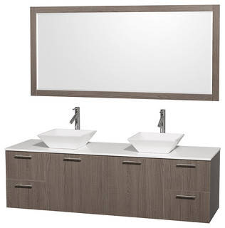 72 Double Bathroom Vanity In Grey Oak With White Man Made Stone Top Mirror Contemporary