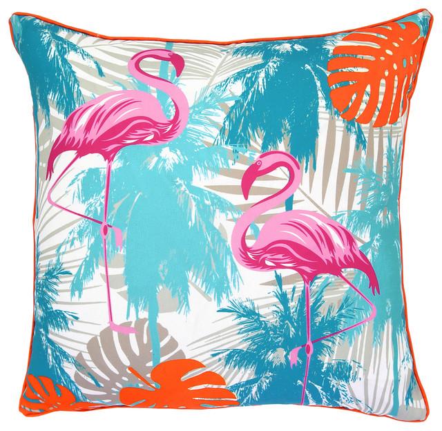 TurquoiseOrange Flamingo And Palm Tree Decorative Pillow 40x40 Simple Lush Decor Pillows