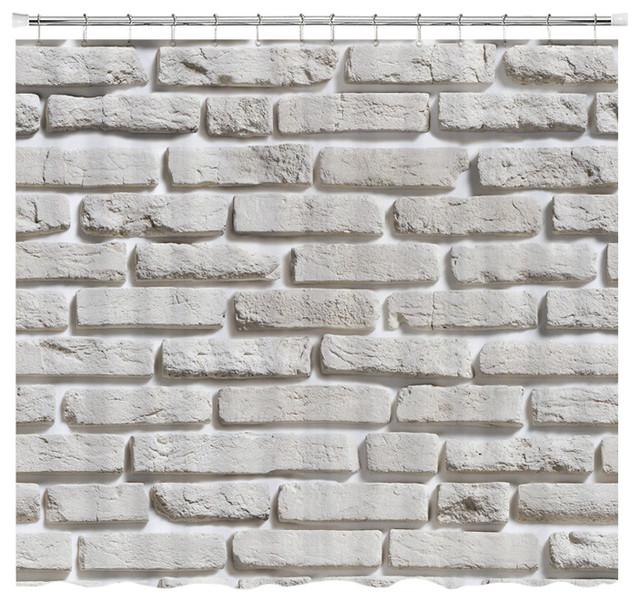 White Brick Pattern Shower Curtain Standard