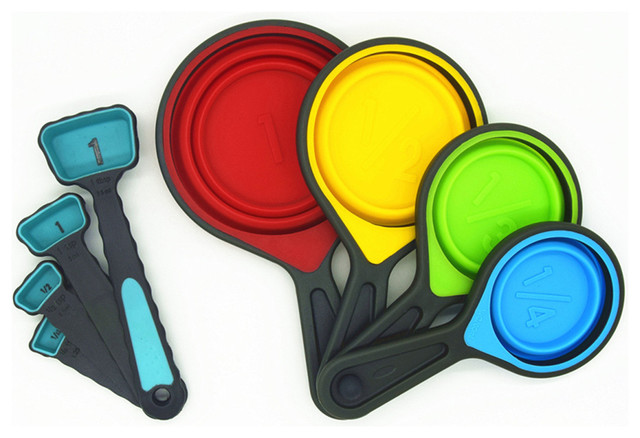 Silicone Measuring Cups And Spoons Portable Collapsible 8 Piece Set  Contemporary Measuring Cups