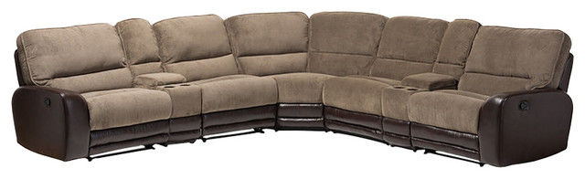 Richmond Taupe Fabric Brown Faux Leather 2-Tone Sectional ...