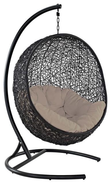 Encase Swing Outdoor Wicker Rattan Lounge Chair, Beige