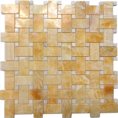 12 X12 Honey Onyx Basketweave Polished Thos White Dot Mosaic Small Sample
