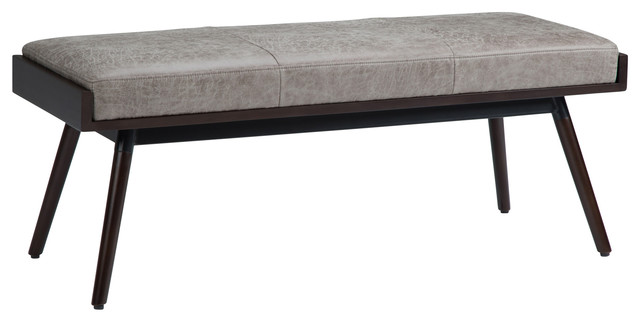 O&x27;brian Ottoman Bench, Distressed Gray Taupe Air Leather.