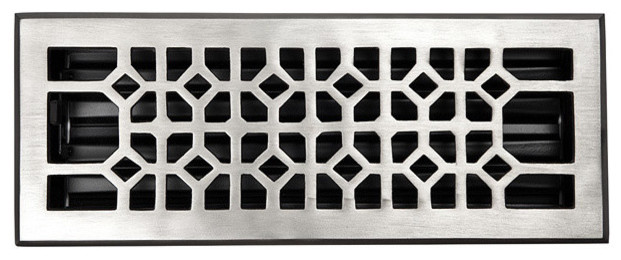 Solid Cast Copper Decorative Floor Register With Damper, Satin Nickel Finish.