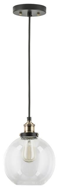 Industrial Factory Pendant Lamp, 1-Light Fixture, Antique Brass.