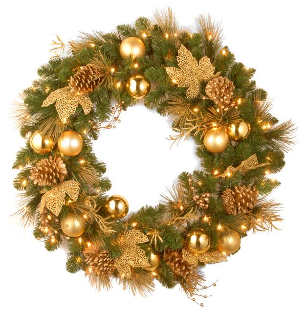 24 Decorative Collection Elegance Spruce Wreath, Warm White Led Lights.