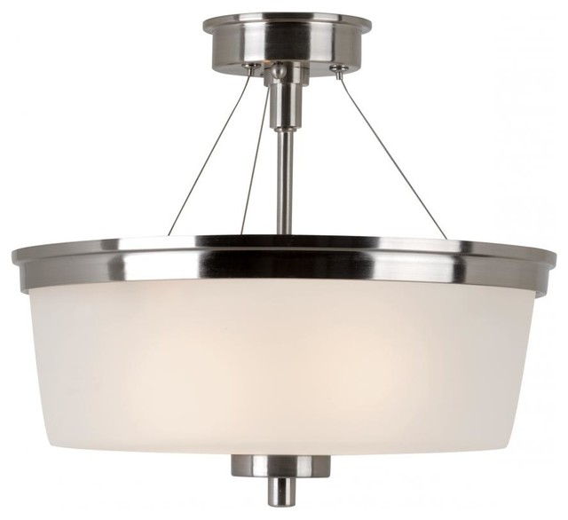 Two Light Brushed Nickel White Frosted Glass Drum Shade ...