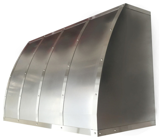 """Handmade Non-Directional Stainless Steel Hood With Brushed Straps, 48"""""""