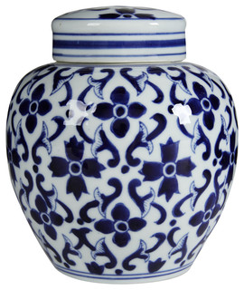 Blue And White Porcelain Jars With Lids Set Of 2