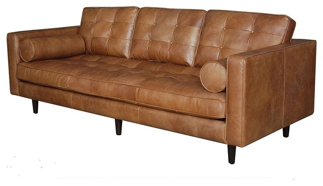 Pillows For Mid Century Modern Sofa : Maxwell Modern Leather Sofa - Midcentury - Sofas - by Zin Home