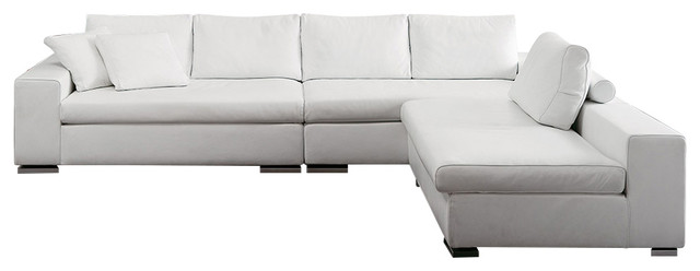 Rogers Large Sectional Sofa, Leather White.