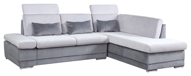 large brush microfiber sectional sofa with chaise lounge and adjustable headrest