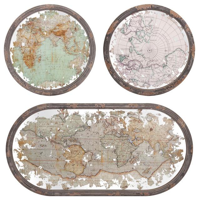 Ferdinand Mirrored Maps Wall Decor, Set Of 3.
