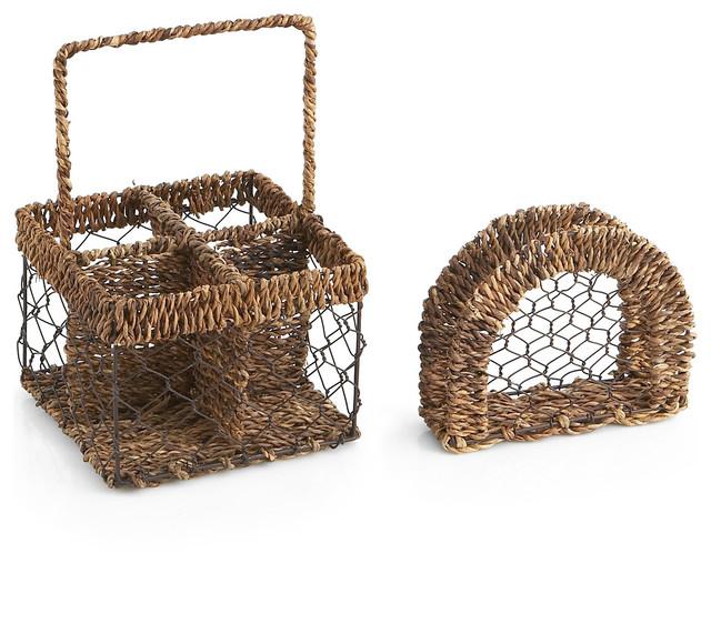Abaca Oval Napkin Holder And Condiment Caddy Set Farmhouse Napkin Holders