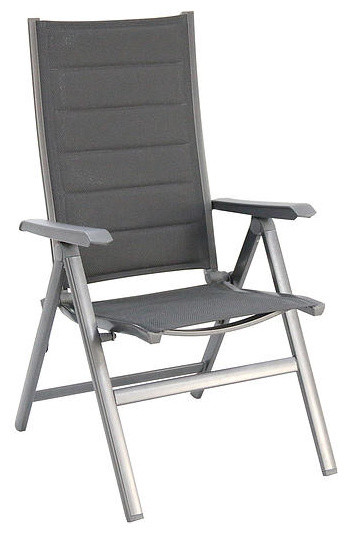 Madrid Aluminum Folding Chair Padded Sling Gray Set of 2 Contemporary