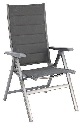 Madrid Aluminum Folding Chair Padded Sling Gray Set Of