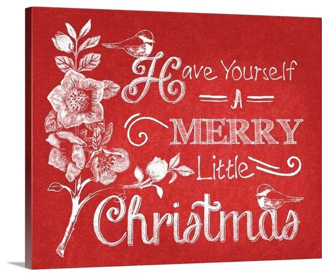 Christmas Sayings.Chalkboard Christmas Sayings V On Red Wrapped Canvas Art Print 14 X11 X1 5