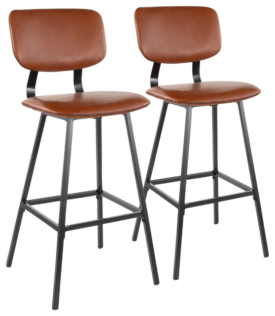 Lumisource Foundry Barstool, Cognac PU Leather, Brown Stitching, Set of 2