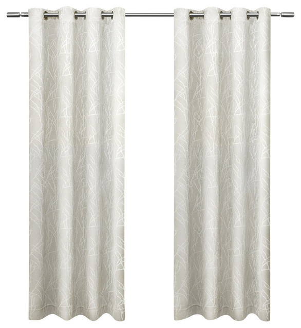 """Twig Insulated Blackout Grommet Curtain Panels, Vanilla, Set of 2, 54"""" x 84"""""""