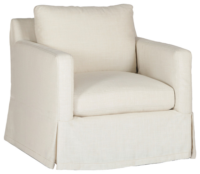 Awesome Gabby Hayes Slipcovered Swivel Chair, Cream Zulu Vanilla  Traditional Armchairs And Accent