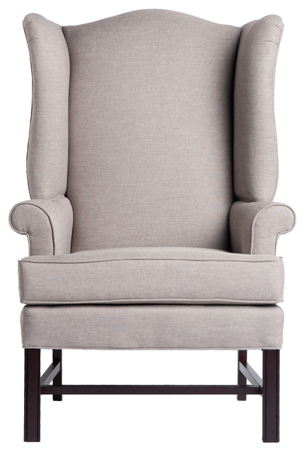 Ordinaire Jitterbug Chippendale Wingback Chair, Linen, 27x30.25x44.75
