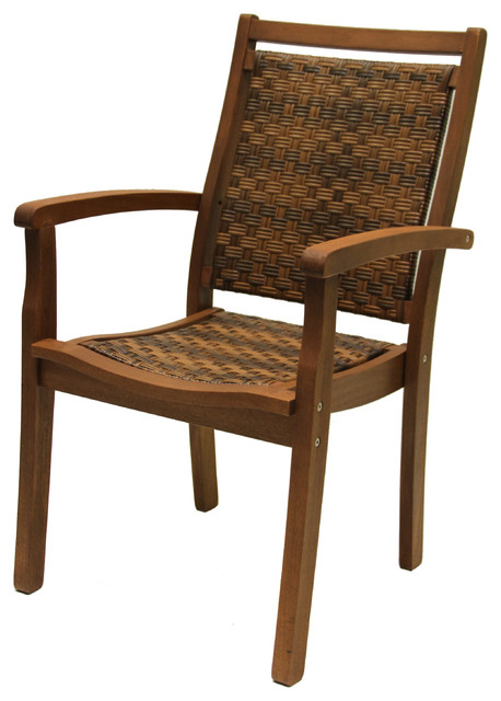 Stackable Resin Wicker and Eucalyptus Armchair Traditional Outdoor Dining