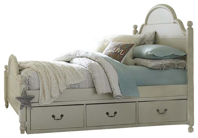 Twin Low Poster Bed With Underbed Storage Drawers Both Sides Morning Mist Traditional Kids Beds By Emma Mason