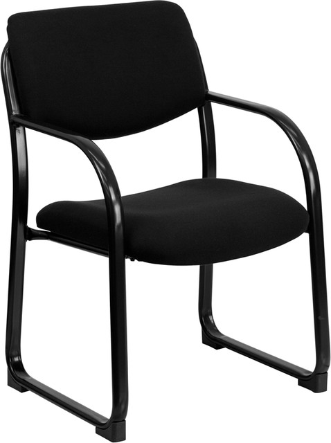 Fabric Upholstered Executive Office Side Chair with Sled Base , Black