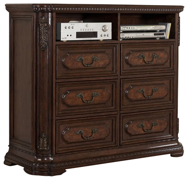 Homelegance Spanish Bay 54 Inch TV Chest in Dark Brown Cherry ...